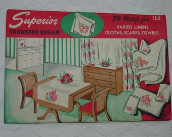 Vintage Pattern c.1950's  Embroidery Transfer Superior 20 Motifs for Linens, Unused