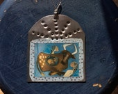 Cross Roads with Angels  - RetablO - Western Ornament - Longhorn Cow - Hammered Tin - Cathy DeLeRee
