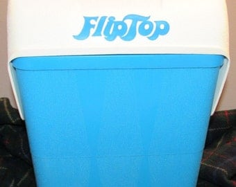 FlipTop Picnic Cooler  Blue and White Insulated 70's Tailgating Cooler