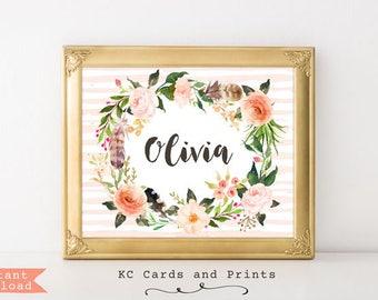 Olivia Name Print, Custom Name Nursery Art, Kid's Room Decor, Bohemian Nursery Decor, Digital Print, Instant Download