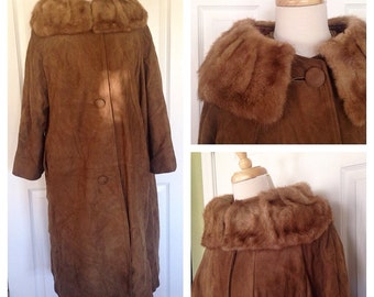 1960s Suede Leather Swing Coat with Fur Collar