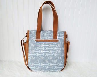 Grey Arrows 3-in-1 Convertible Backpack Diaper Bag/Nappy Bag