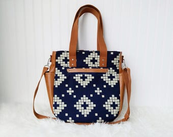 Navy Blue Aztec 3-in-1 Convertible Backpack Diaper Bag/Nappy Bag