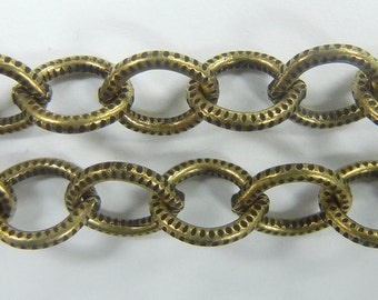 7mm etched texture oval link cable chain, brass ox plate over steel ,sold per foot, (BMC-100)