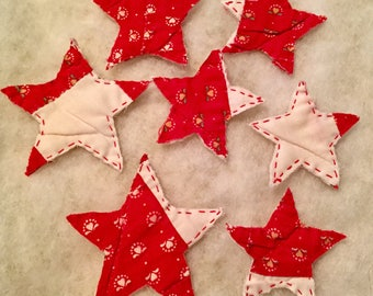 Star Appliqués From An Antique Cutter Quilt, Ornament Sale, Red And White Primitive Quilt Stars, Bowl Filler