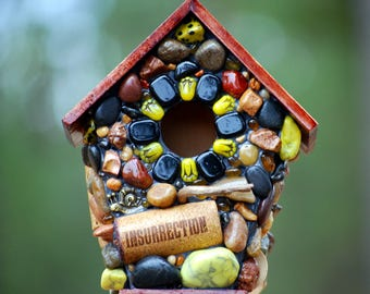 Fairy garden, fairy house, miniature birdhouse, Mosaic art, Whimsical birdhouse, recycled wine corks, natural stone bird house, yard art