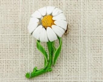 Flower Enamel Brooch Vintage Green White Yellow Broach Costume Jewelry   Vtg Pin 16E