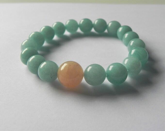 Aqua quartz and pink aventurine gemstone stretch bracelet.