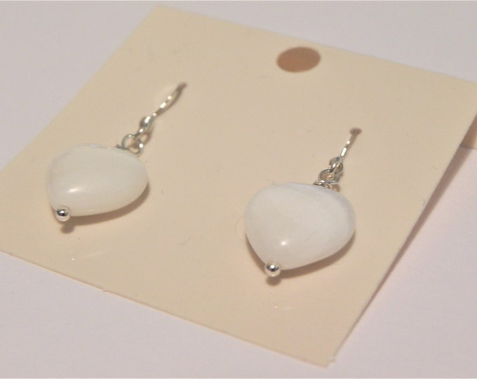 Sterling silver earrings with white shell hearts. Heart earrings. Valentines, Shell earrings