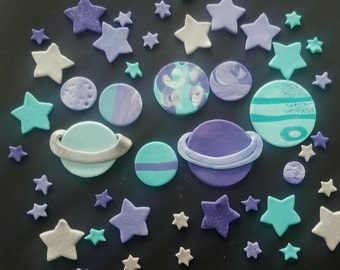 Fondant cupcake toppers--9 fantasy planets and 40 assorted stars