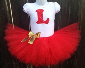Red and Gold Tutu Set, Matching Headband | Red and Gold Star Initial Christmas Outfit | Christmas Photo, Personalized Top | Newborn-3T