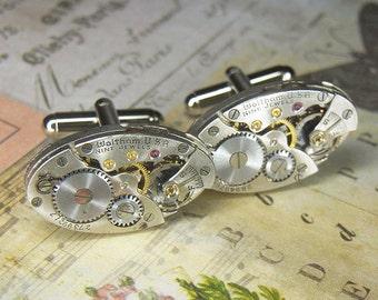 Luxury Watch Cuff Links Cufflinks - Torch SOLDERED - Steampunk Antique Silver Oval WALTHAM  Movements - Birthday Anniversary Gift