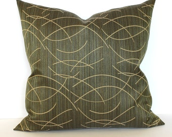 Green Pillow Cover Beige Wisp Upholstery Fabric Throw Pillow Cover Decorative Pillow Accent Cushion Cover 20x20 18x18 16x16