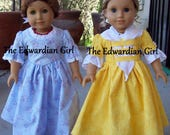 Two of a kind blue or yellow Revolutionary War 1770s day dress. Fits 18 inch play dolls such as American Girl, Springfield, OG. Made in USA