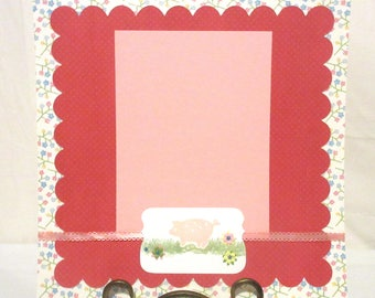 12x12 pig scrapbook page, Premade single layout, One photo mat