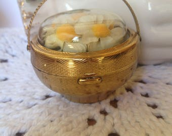Compact Kolter Kopit KK Flower Basket Novelty Collectible Rare Vintage Great Condition Domed Enclosed Silk Flowers No Dings or Dents puff