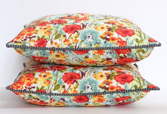 Yellow, Orange, Teal Quilted Wildflower Print Pillow