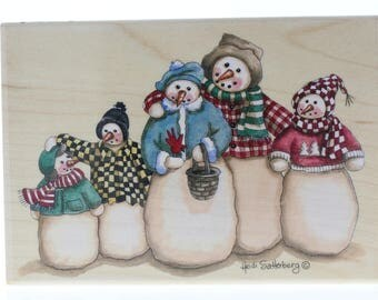 Snowman Family 80244 Stamps Happen Heidi Satterber Wooden Rubber Stamp