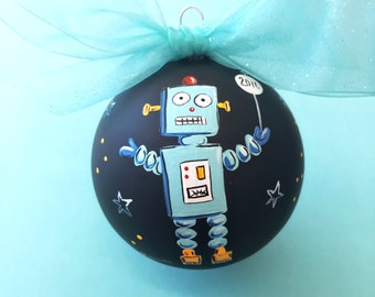 Robot | Hand Painted Glass Ornament
