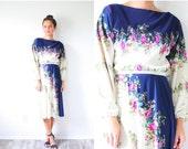 20% OFF BLACK FRIDAY Sale Vintage boho blue floral modest dress S-M // blue floral dress // summer floral bohemian dress // retro garden flo