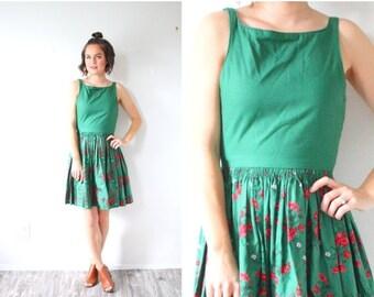 30% OFF VALENTINES SALE Vintage 60's floral green dress // summer fall dress // tank top dress // dutch full skirt dress // red floral garde