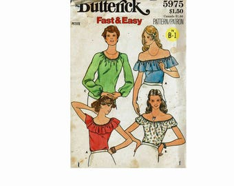 1970s Fast & Easy Tops for Stretch knits Cute summer tops Peasant blouses Size Petite 6 Bust 30 1/2 Uncut 70s Sewing Pattern Butterick 5975
