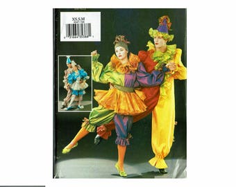Unisex Pierrot Clown Ballet Costumes Cirque French Antique Butterick P247 3598 UNCUT oop Sewing Pattern XS S M or L XL Easy Sewing Pattern