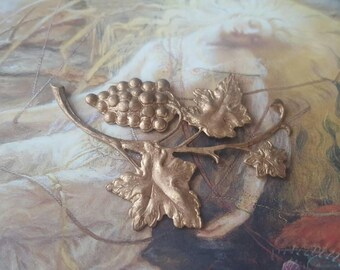 Vintage Original Old Brass Books Raised Relief Awesome Grapevine Grapes Piece