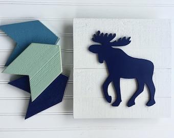 Moose Sign Set . Moose and Chevron Set .Moose Nursery . Woodland Nursery . Moose . Forest Nursery . Nursery Decor . Happy Camper