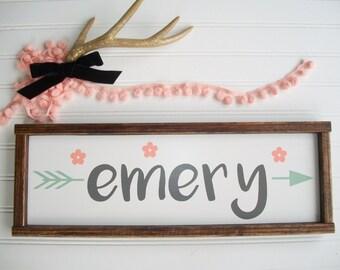 Woodland Baby Girl . Baby Girl . Boho Tribal Arrow . Coral Mint Peach  . Floral Nursery . Woodland Arrow NamE Sign  . Boho Sign
