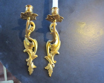 pr brass wall sconces   candle holders    hollywood regency gold gilt