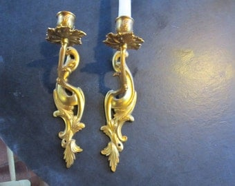 pr brass wall sconces..candle holders hollywood regency gold gilt