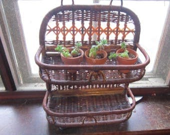 bamboo rattan wall shelf plant holder shelves
