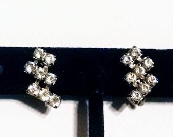 Earrings Clear Rhinestones Dangle Clips Silver Tone Settings Vintage Wedding Jewelry Jewellery Accessory Art Deco Gift Guide Women
