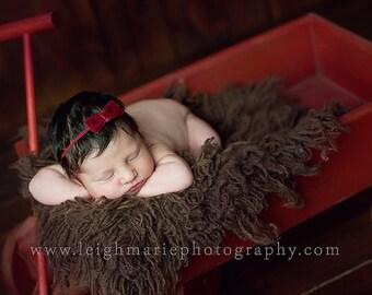Red velvet baby headband, christmas baby headband, infant headband, newborn headband, skinny elastic, velvet bow headband, tiny extra small