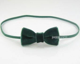 Extra small dark green velvet baby headband, christmas baby headband, infant headband, newborn headband, baby velvet hunter green, girls