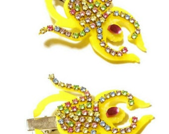Colorful Bright RHINESTONE SCARAB Hair Clips // Barrettes With Yellow Acrylic and Pastel Rainbow Rhinestones