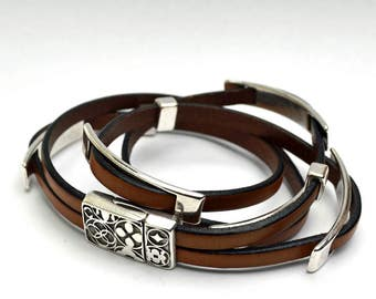 Two-Wrap Spanish light brown leather bracelet with silver metal sliders magnetic clasp