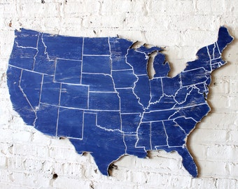 "US Map With Engraved States Wooden Wall Art Oversized 43"" wide"