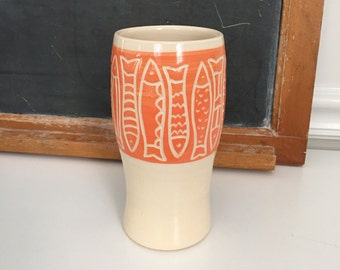 Orange Fishes Tumbler, flower vase, vessel, cup