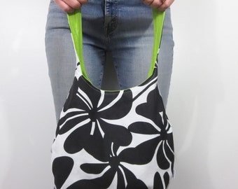 hobo purse in black large flowers. medium handbag with lime interior. On sale and ready to ship.