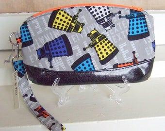 Exterminate! Doctor Who Dalek Fabric Zippered Wristlet Clutch Purse / Makeup Bag / Geek Chic