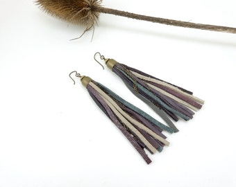 Leather Tassel Earrings with Assorted Antique Brass Chain and Bullet Shell