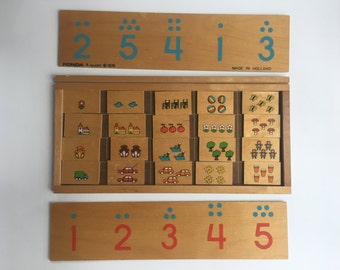 Wooden Counting Sorting Picture Game Made in Holland 1978 For Toddlers or Children