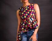 African Ankara Top; African Red/Brown Top, African fashion; African Print; African JackeT, African Clothing; African Ankara Jacket