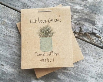 Mini Rustic Flower Seeds Wedding Favors w/ Baby's Breath in a Mason Jar - Personalized for your Event
