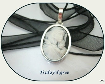 Handmade Sterling Silver Pendant / White and Black / Mother and Child Resin Cameo / Organza Cord