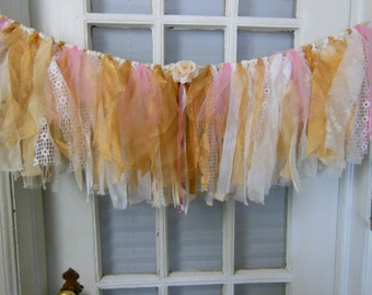 fabric banner, fabric garland, pink and gold, nursery garland, window swag, shabby lace strip  banner