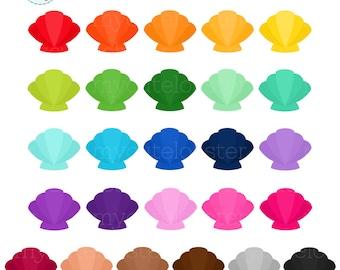 Rainbow Seashells Clipart Set - clip art set of shells, sea shells, rainbow, beach - personal use, small commercial use, instant download