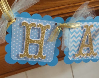 Happy Birthday Banner, Blue and Gold Birthday Banner, Blue chevron and polka dotted birthday decor, Boy birthday banner